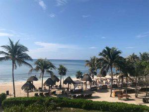Hôtel, palmiers, plage